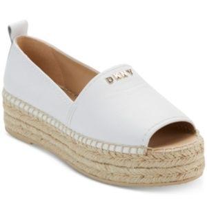 DKNY Mer Peep-Toe White Espadrille Sandals